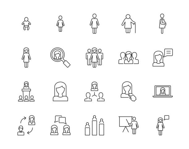 stockillustraties, clipart, cartoons en iconen met vrouwen vector icons - jong volwassen