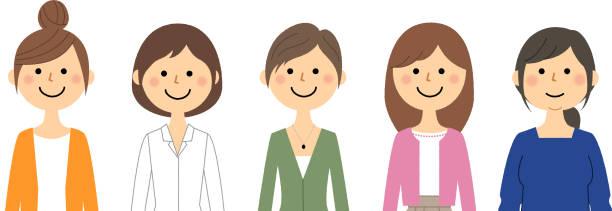 女性 - 女性 笑顔点のイラスト素材/クリップアート素材/マンガ素材/アイコン素材