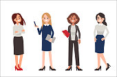 Multinational women wearing office clothes. Dress code concept. Flat style vector illustration isolated on white background.