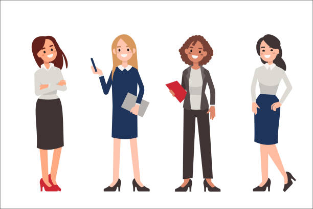 women Multinational women wearing office clothes. Dress code concept. Flat style vector illustration isolated on white background. asian woman stock illustrations