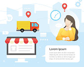 Women waiting for the package. Online delivery service vector illustration concept