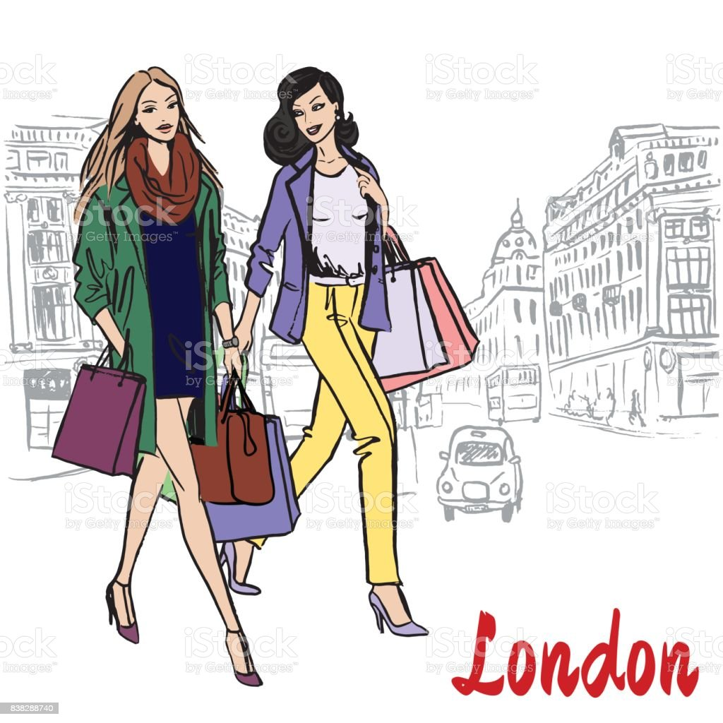 Women walking in London vector art illustration
