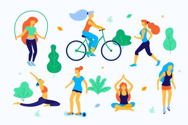 illustrazioni stock, clip art, cartoni animati e icone di tendenza di women walking in the park vector flat illustration. girls doing sports in the park, running, skating, doing yoga, jumping. - city walking background