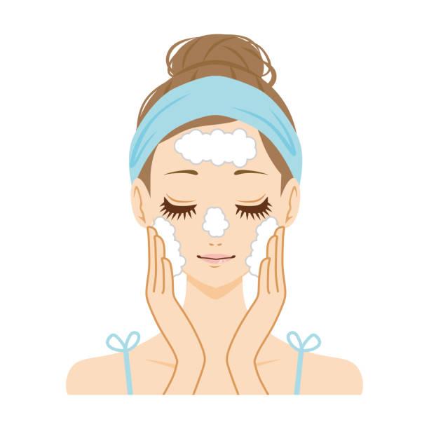 illustrazioni stock, clip art, cartoni animati e icone di tendenza di women washing the face. - solo giapponesi