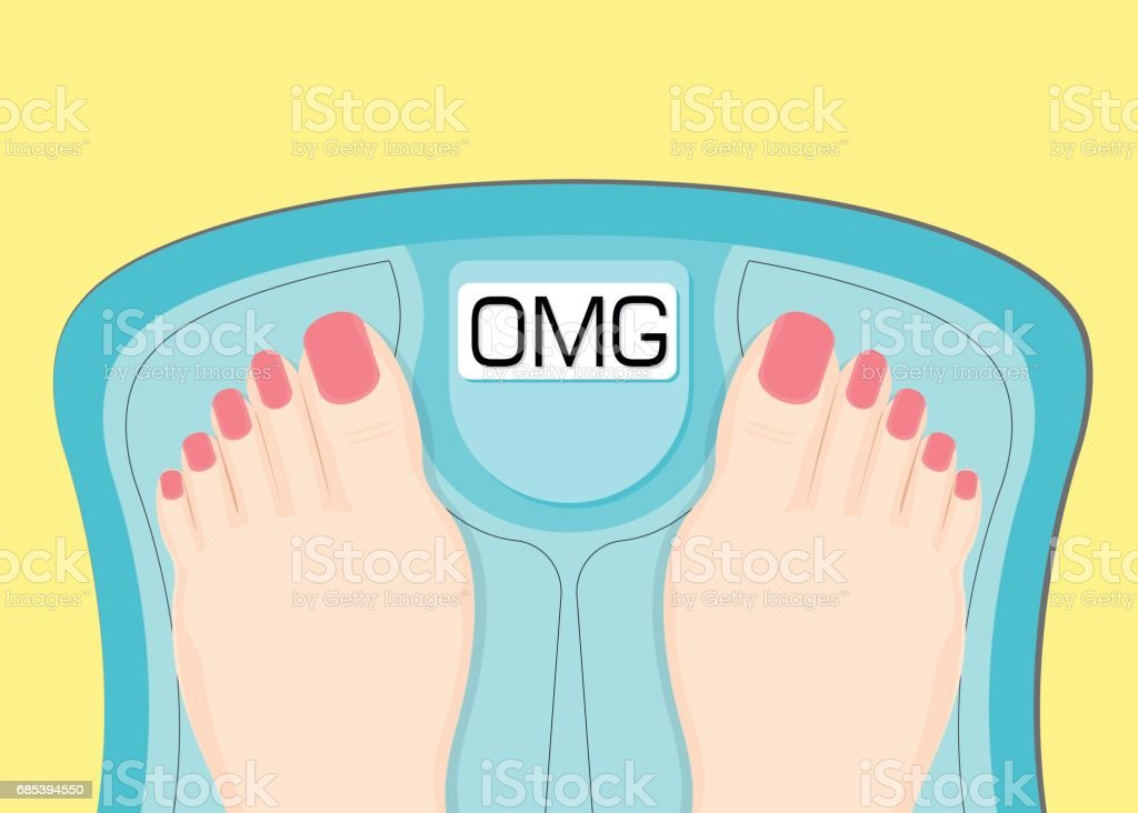 Women watching your weight in a scales. vector art illustration