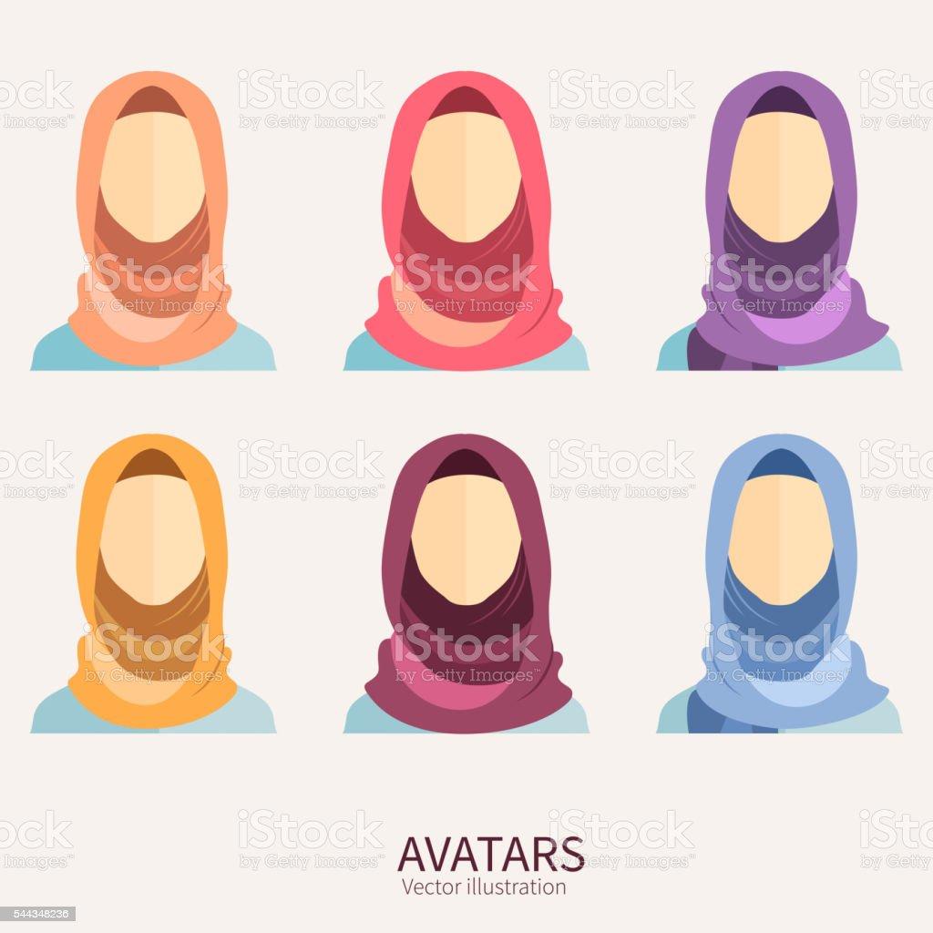 Women wearing hijab. Avatar icons in flat style. vector art illustration