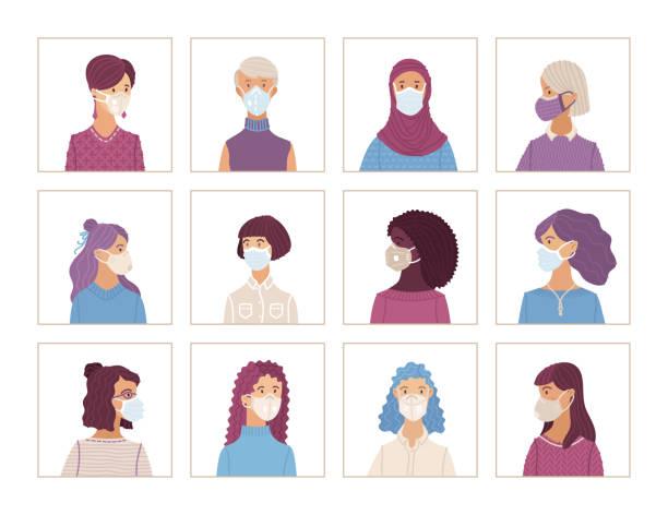 ilustrações de stock, clip art, desenhos animados e ícones de women wearing safety breathing masks - afro latino mask