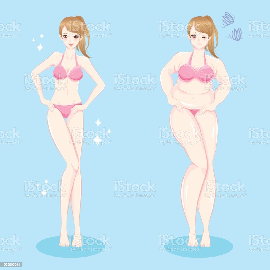 Women weight loss concept - Illustration .