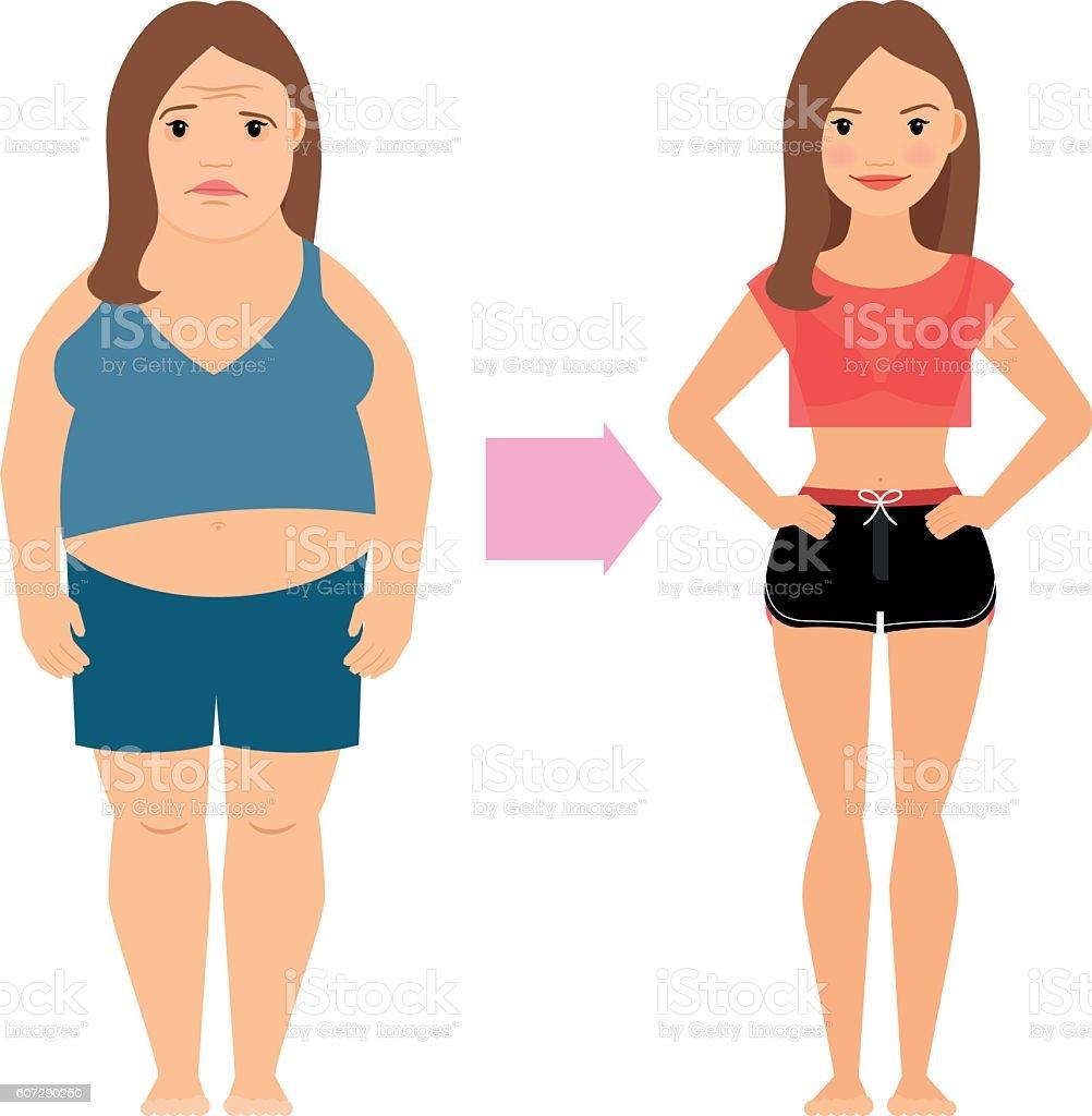 Women weight loss success vector art illustration