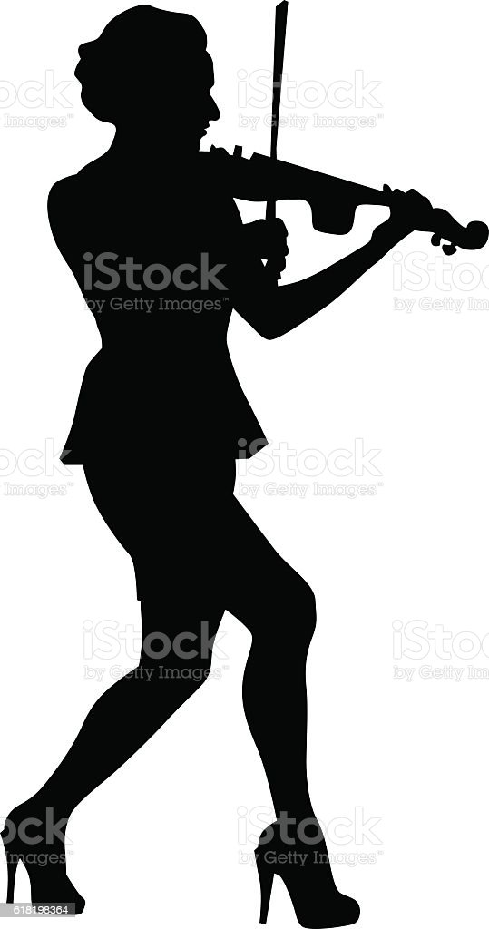 Women whit violin eight vector art illustration