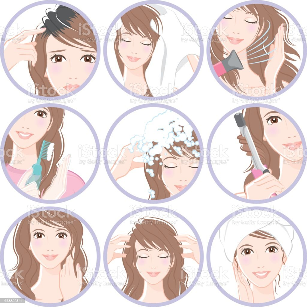 Women who do hair care vector art illustration