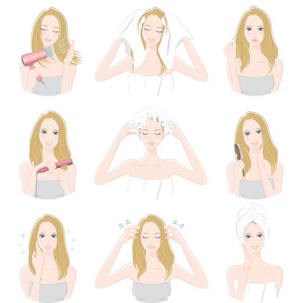 bildbanksillustrationer, clip art samt tecknat material och ikoner med kvinnor som gör hår vård - japanese bath woman