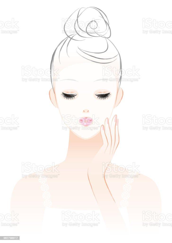 Women who do skin care. Face pack . vector art illustration