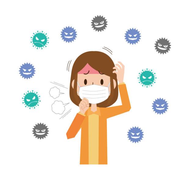 ウイルスから身を守る女性 - マスク 日本人点のイラスト素材/クリップアート素材/マンガ素材/アイコン素材