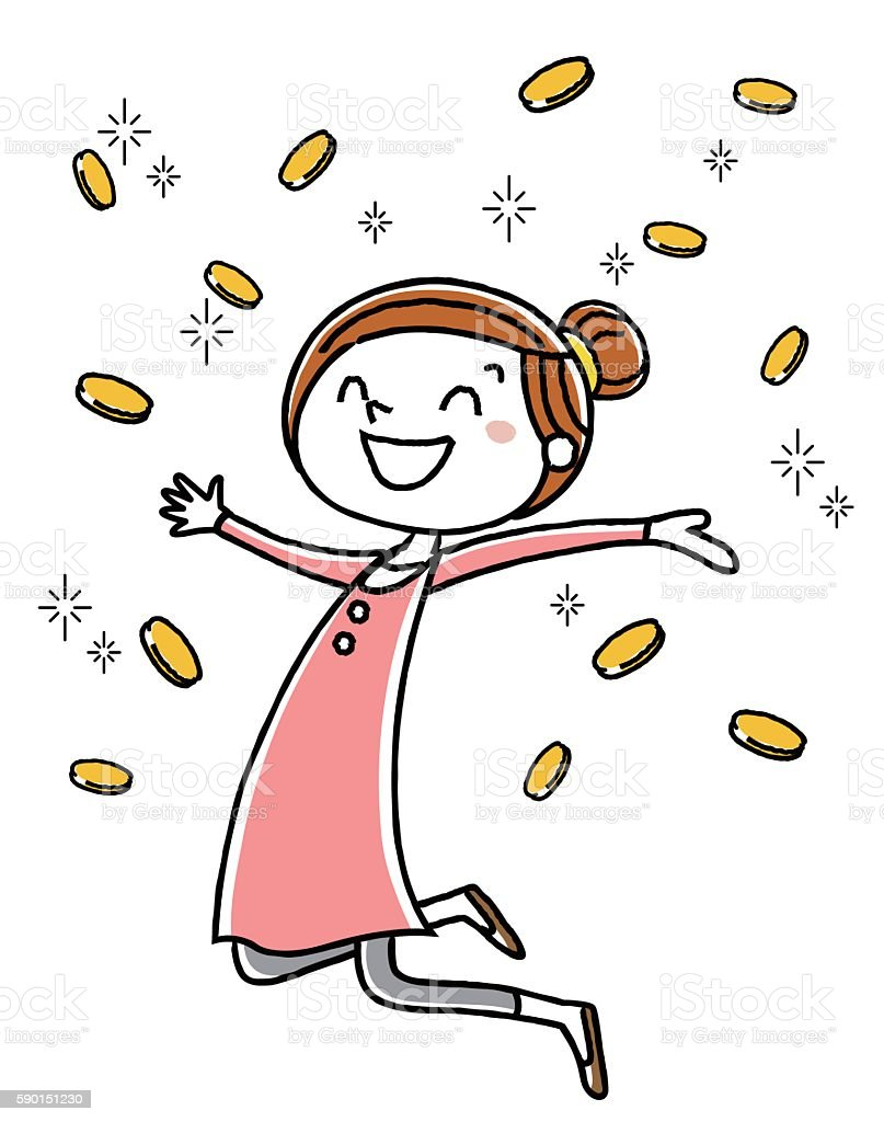 Women who rejoice point, to coin vector art illustration