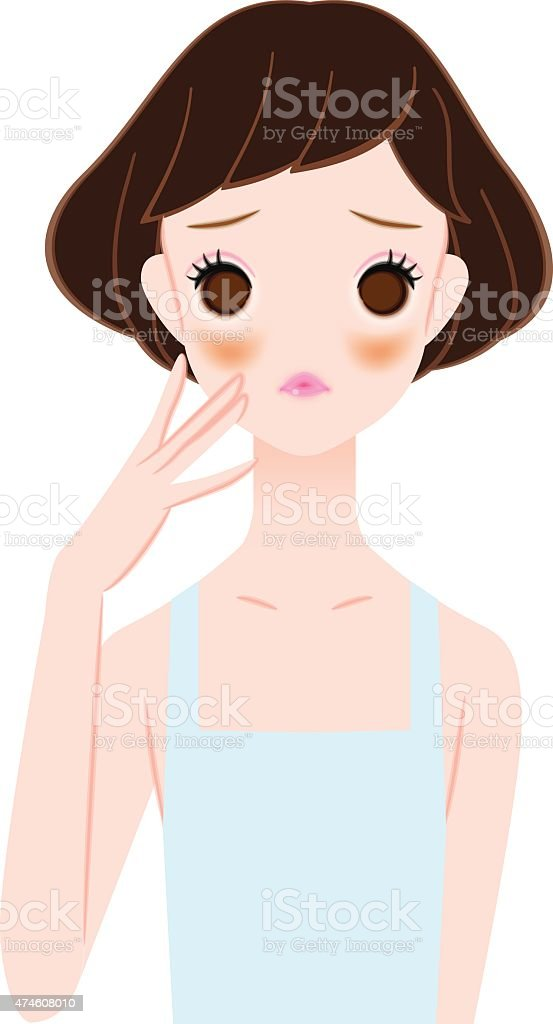 Women who suffer from liver spots vector art illustration