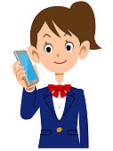 Women who telephoned student uniforms upper body