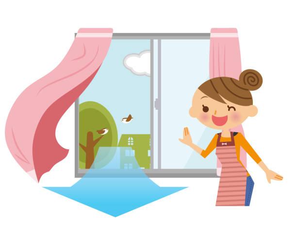 illustrazioni stock, clip art, cartoni animati e icone di tendenza di women who ventilate. - solo giapponesi