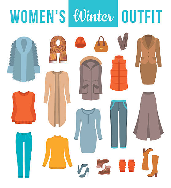 women winter clothes flat vector icons set - parkas stock-grafiken, -clipart, -cartoons und -symbole