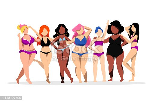 Happy women with different figures and skin colors. Body positive concept. Vector flat illustration. Plus size cartoon girls in bikini swimsuits.