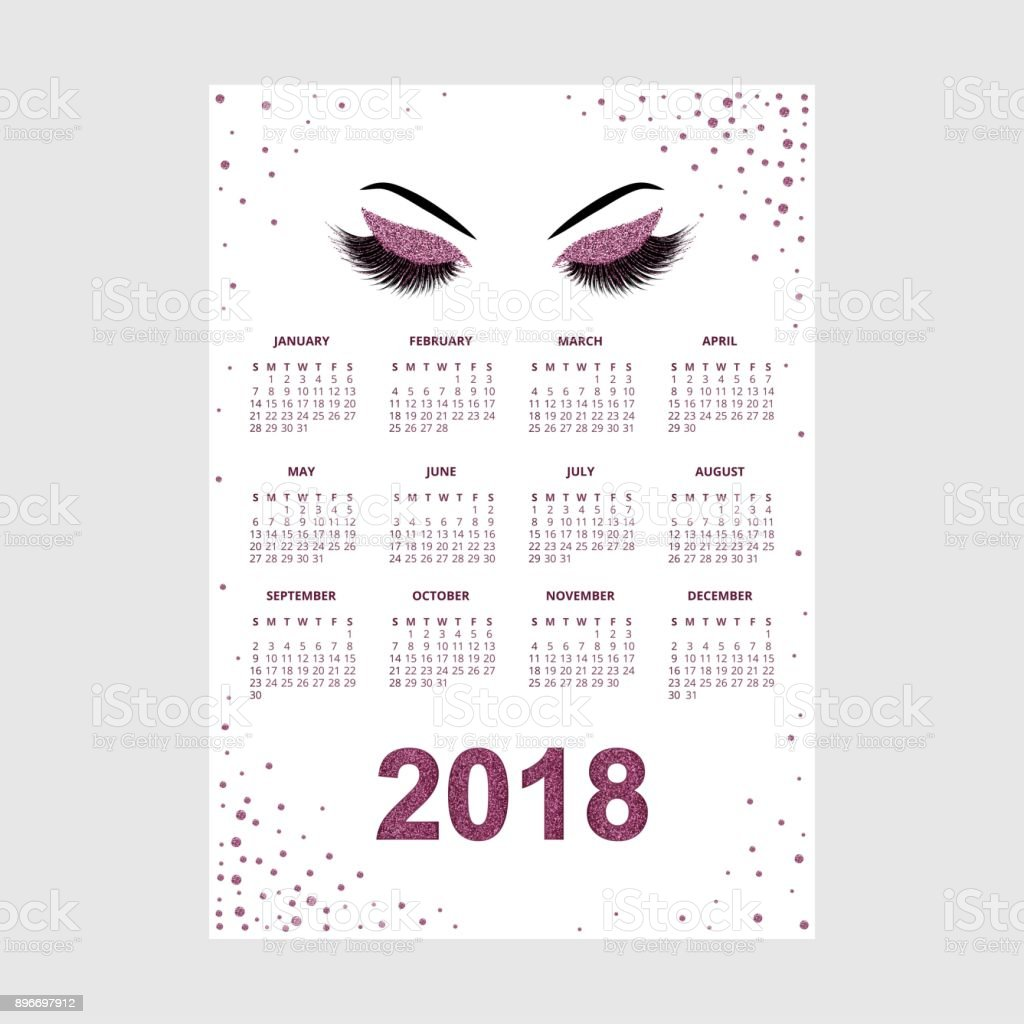 women with glittery makeup 2018 calendar vector illustration royalty free women with glittery makeup 2018