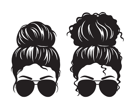 Women with Messy Bun and Sunglasses Face Silhouette