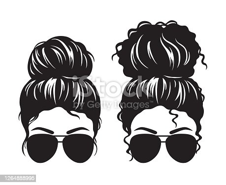 Vector illustration of straight and curly hair woman with messy buns and sunglasses silhouette.