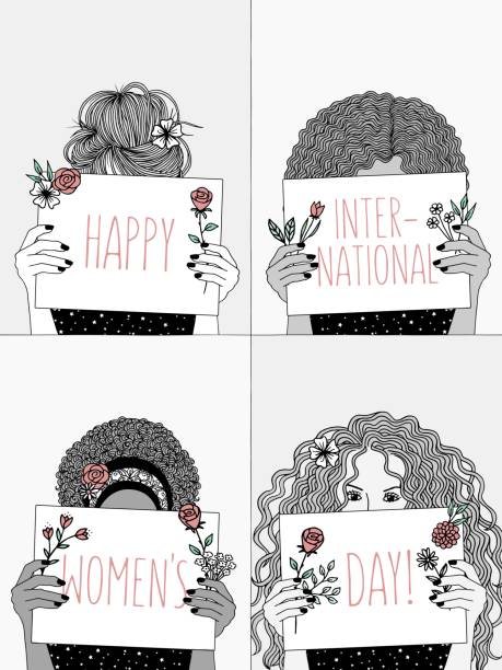 Women with signs saying: Happy International Women's Day! vector art illustration