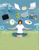 Vector illustration of concept of woman balancing work and life.