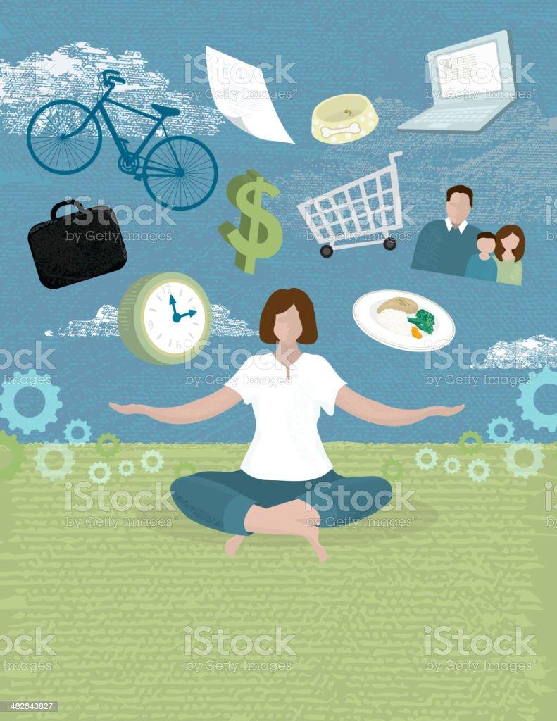 Women work life balance concept vector art illustration