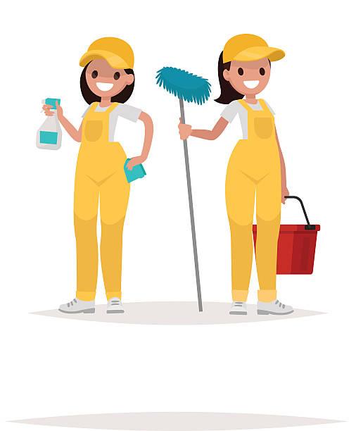 illustrazioni stock, clip art, cartoni animati e icone di tendenza di women workers of cleaning company on a white background. vector - cameriera