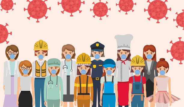 women workers with masks against 2019 ncov virus vector design - essential workers stock illustrations