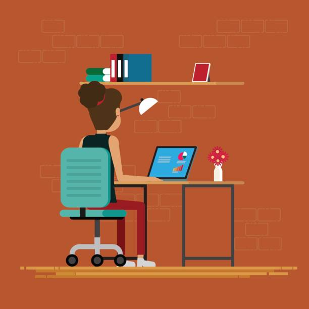 オフィスでは、部屋で働く女性ベクトル イラスト - フリーランス点のイラスト素材/クリップアート素材/マンガ素材/アイコン素材