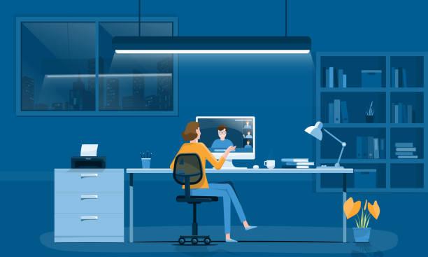 Frauen arbeiten online mit Videokonferenz und arbeiten von zu Hause aus – Vektorgrafik