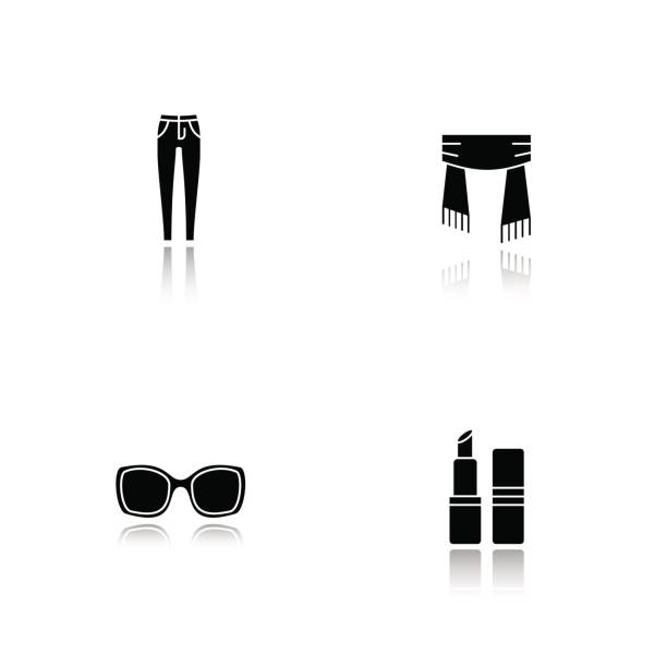 Women's accessories icons Women's accessories drop shadow vector icons set. Skinny jeans, scarf, sunglasses, lipstick skinny jeans stock illustrations