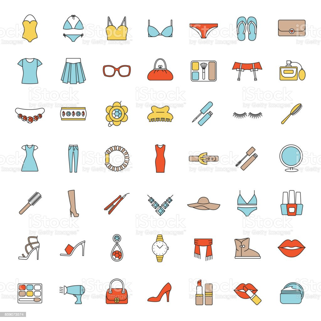 Women's accessories icons vector art illustration