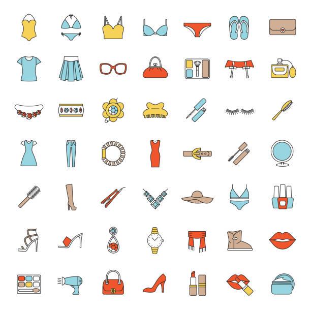 women's accessoires symbole - damenmode stock-grafiken, -clipart, -cartoons und -symbole