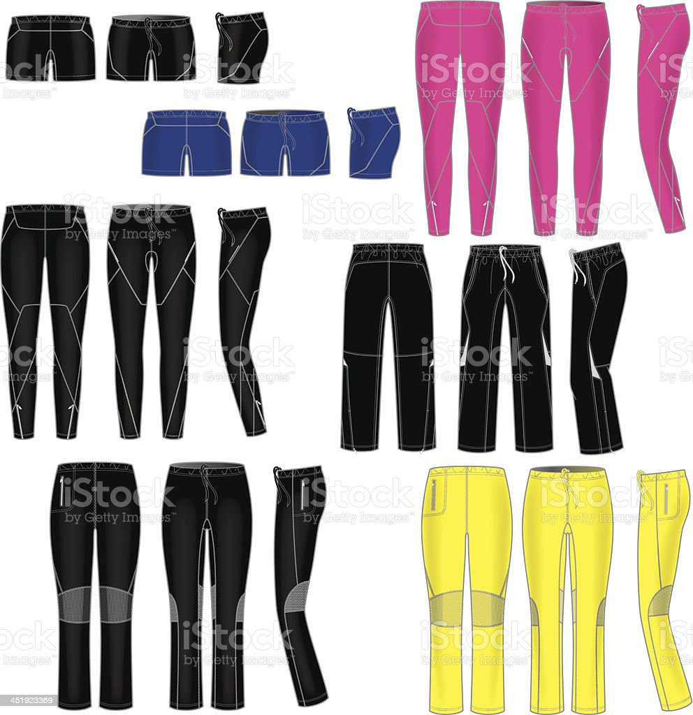 Womens Active Pant Templates vector art illustration