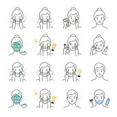 Women's and Men's skin daily care, beauty treatment vector icons set