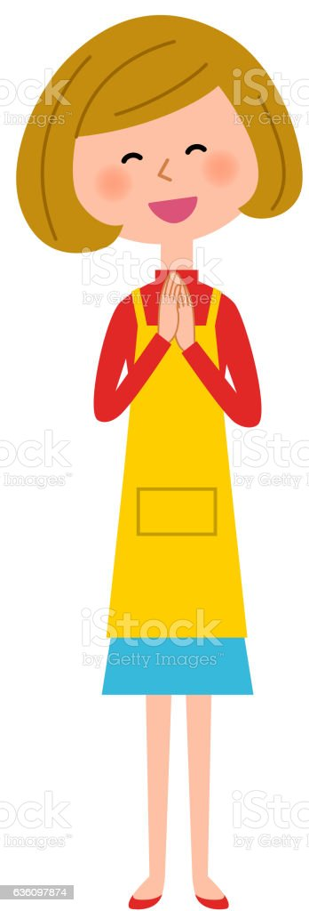 Women's apron rejoice vector art illustration