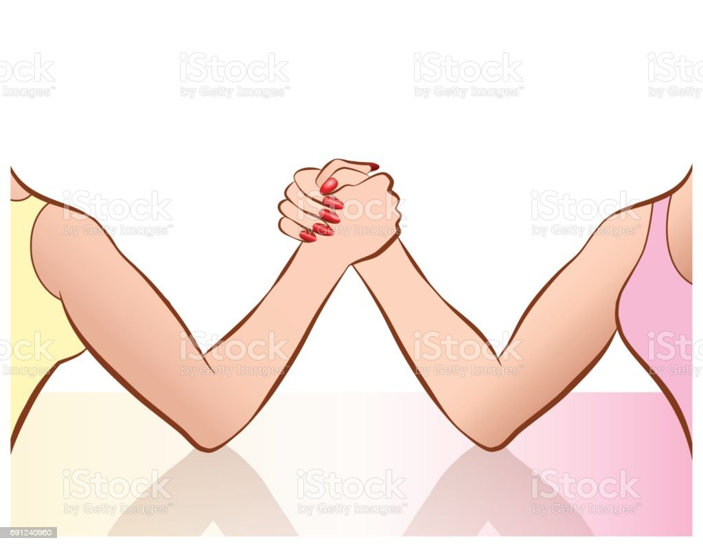 Womens arm wrestling as a symbol for female competition or cat fight. Vector comic illustration. vector art illustration