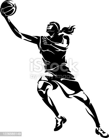 Isolated vector illustration of active team sport female athlete, mid air.