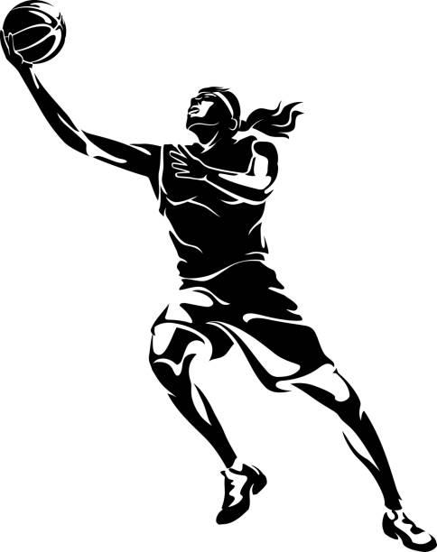 Women's Basketball, Abstract Lay Up vector art illustration