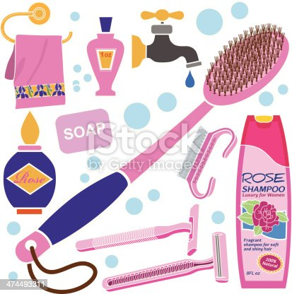 A vector illustration of women's bath accessories.