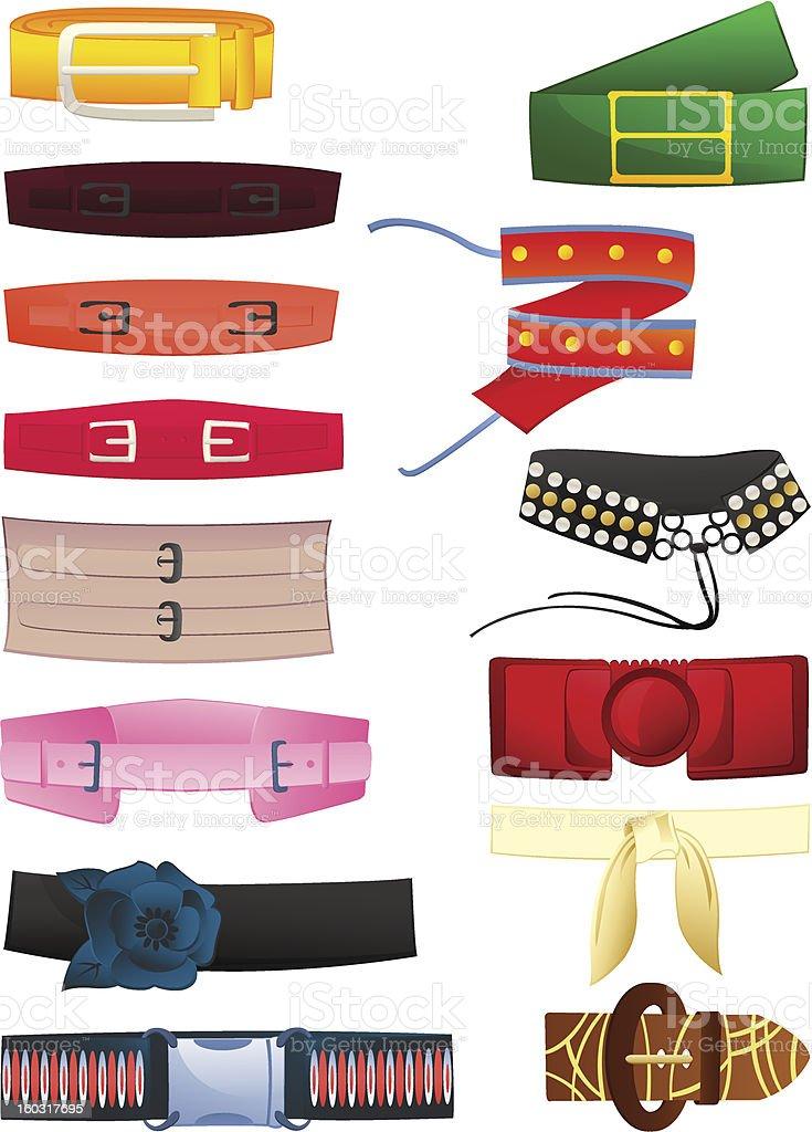 Women's belts vector art illustration