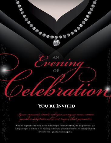 Women's black dress Elegant invitation design template
