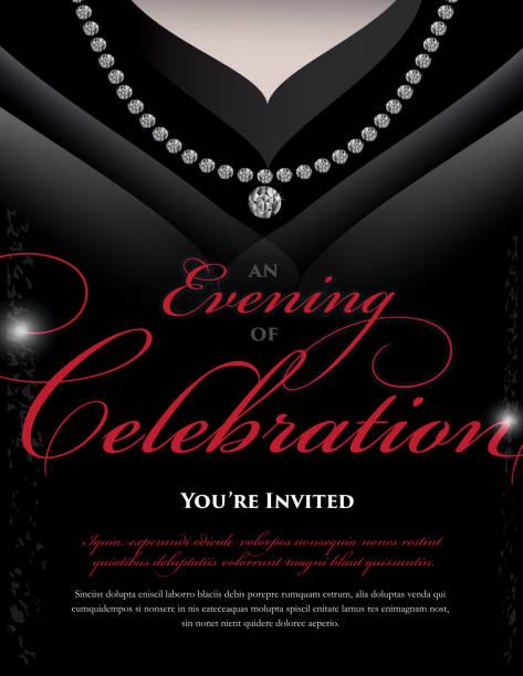 women's black dress elegant invitation design template - black tie events stock illustrations, clip art, cartoons, & icons