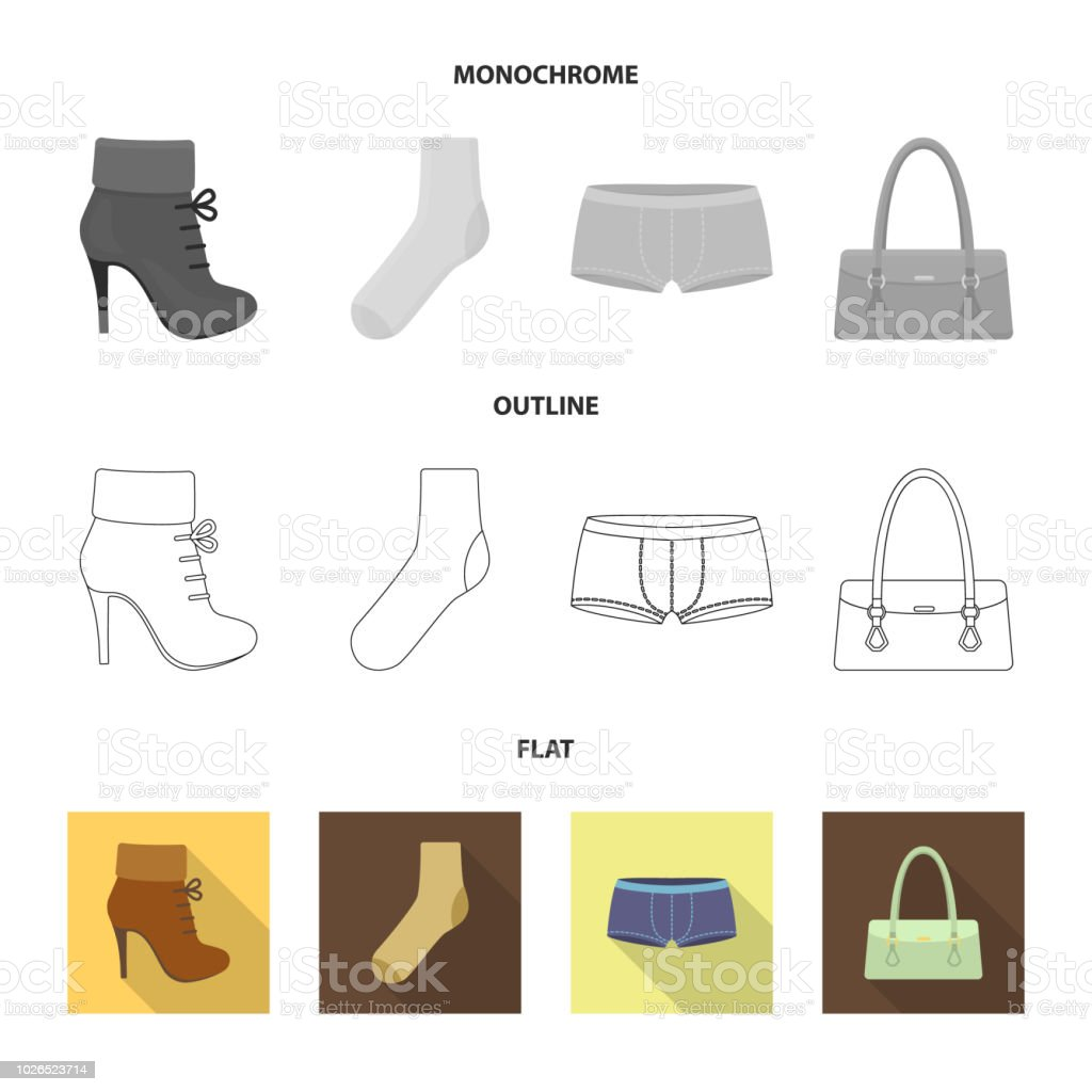 5664980a61cde Womens Boots Socks Shorts Ladies Bag Clothing Set Collection Icons ...