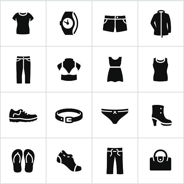 damen-freizeit-icons - damenmode stock-grafiken, -clipart, -cartoons und -symbole