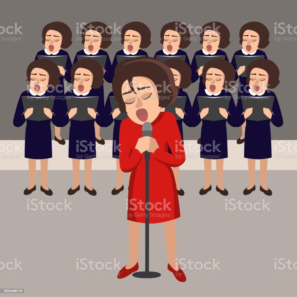 women's choir vector cartoon illustration vector art illustration